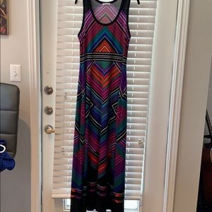 Calvin Klein striped chevron maxi dress size 10